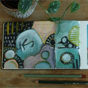art journal met planten en veer vierkant