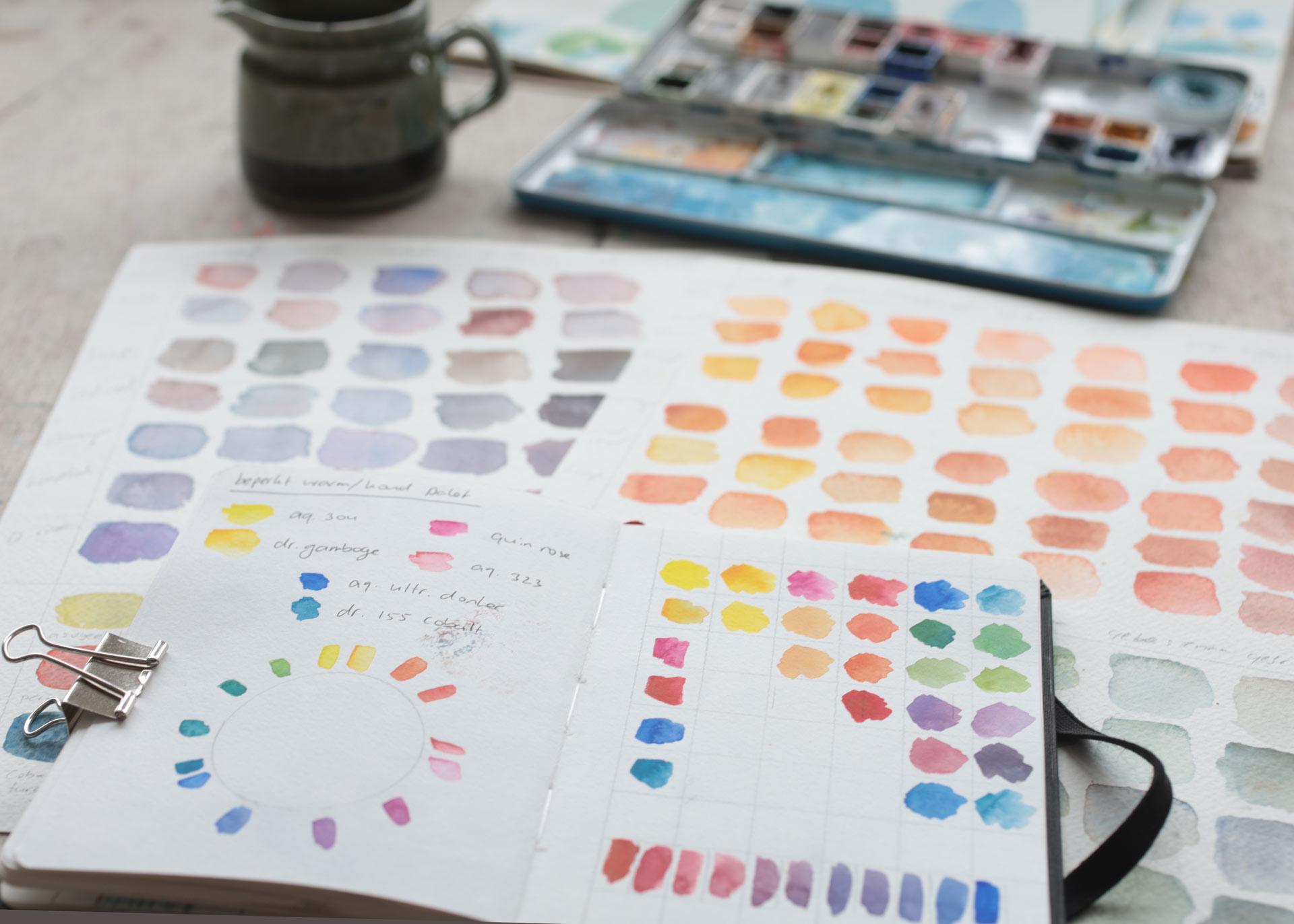 Kleurstudies en kleuren mengen met aquarelverf